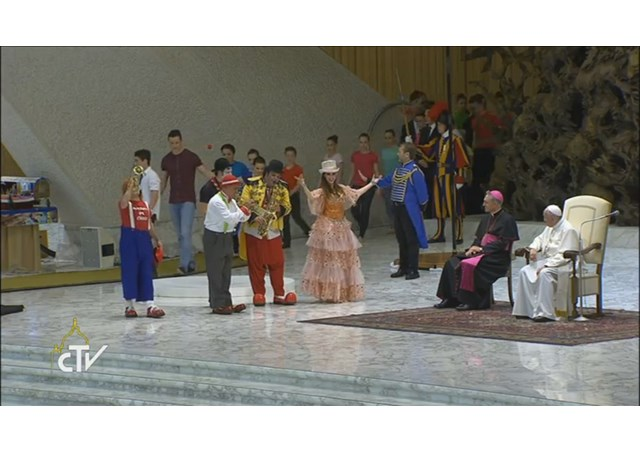 Pope Francis receives in audience representatives of the circus and world of travelling and folk shows on their Jubilee during the Year of Mercy